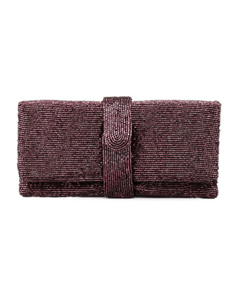 Beaded Flap-Top Clutch Bag, Aubergine