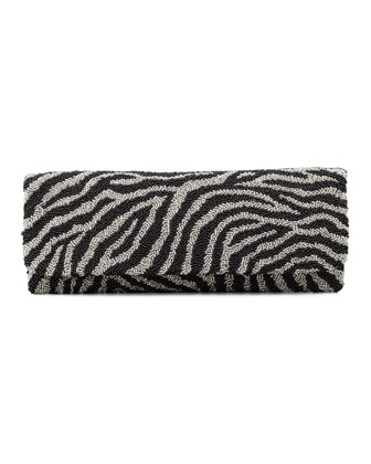 Zebra-Print Beaded Clutch Bag, Black/Silver