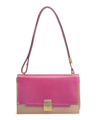 New Partition Shoulder Bag, Pink/Brown