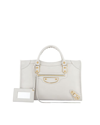 Classic City Metallic Edge Bag, Light Gray