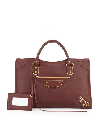Metallic Edge Classic City Bag, Wine
