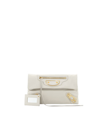 Metallic Edge Classic Envelope Clutch Bag, Light Gray