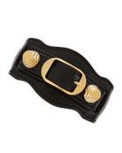 Giant 12 Yellow Golden Leather Single Strap Bracelet, Black