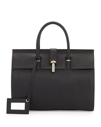 Tube-Clasp Tote Bag, Black
