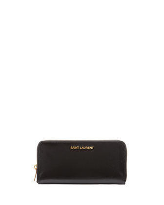 Logo-Letter Zip-Around Continental Wallet, Black