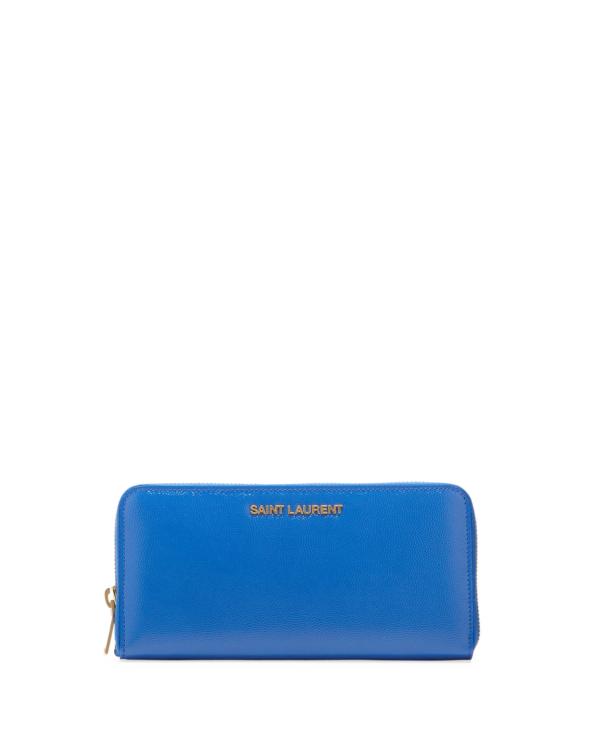 Letters Continental Zip Wallet, Cobalt   Saint Laurent