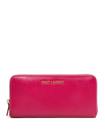 Logo-Letter Zip-Around Continental Wallet, Fuchsia