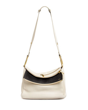 Vanessa Double-Flap Shoulder Bag, White/Black