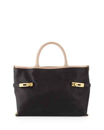 Charlotte Medium Tote Bag, Black/Cream