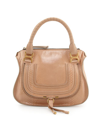 Marcie Medium Python Shoulder Bag, Sand