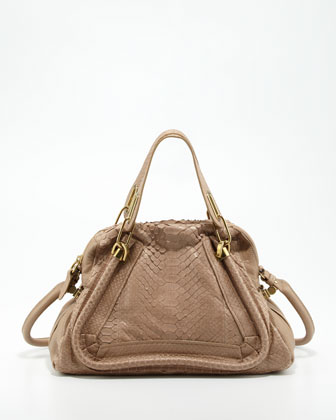 Paraty Medium Python Shoulder Bag, Sand