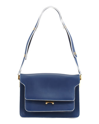 Flap Top Triple-Gusset Shoulder Bag, Navy