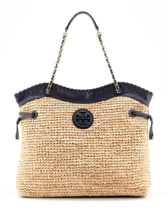 Marion Chain-Strap Straw Tote, Natural/Blue