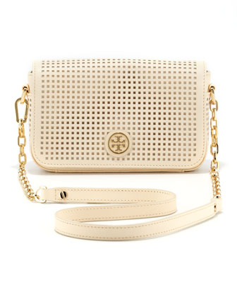Robinson Perforated Convertible Chain Bag, Ivory