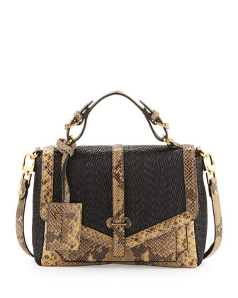 797 Medium Raffia & Snake-Print Satchel Bag