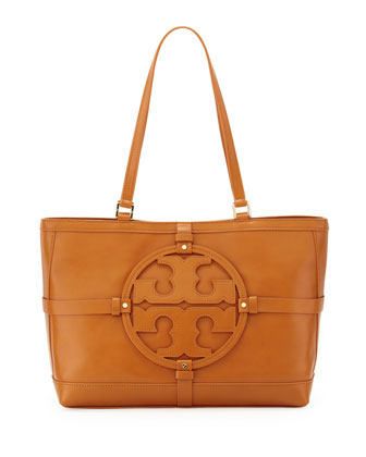 Holly East-West Leather Tote Bag, Tan