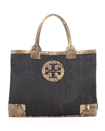 Ella Snake-Print-Trim Tote Bag, Black/Brown