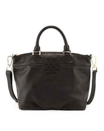 Small Stacked-T Leather Satchel Bag, Black