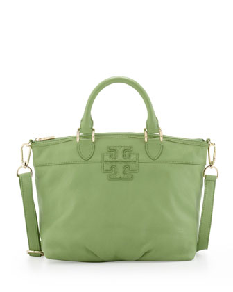 Small Stacked-T Leather Satchel Bag, Green