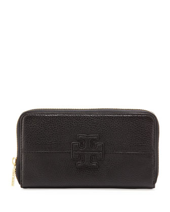 Stacked Continental Zip Wallet, Black