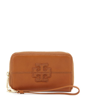 Stacked T Zip Smart-Phone Wallet, Tan