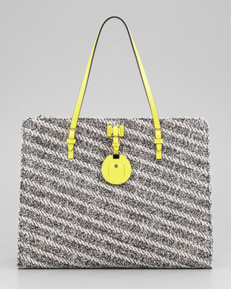 Jourdan Cotton and Leather Tote Bag