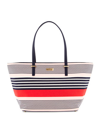 cedar street striped small harmony tote bag