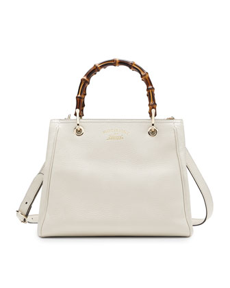 Bamboo Shopper Leather Tote Bag, Mystic White