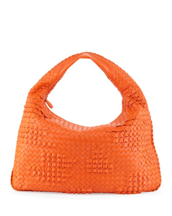 Large Veneta Ruffle Hobo Bag, Tangerine