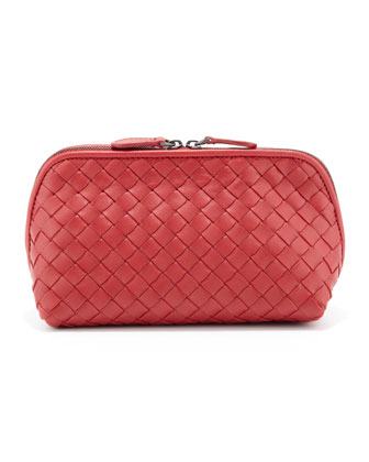 Intrecciato Medium Cosmetic Bag, Red