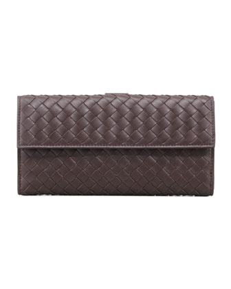 Woven Continental Flap-Tab Wallet, Dark Brown