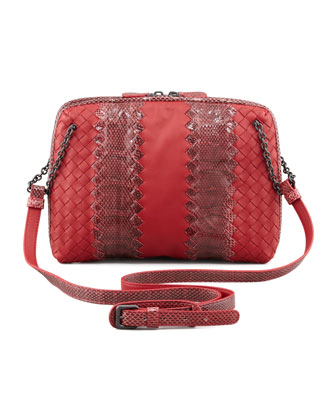 Snake & Napa Leather Crossbody Bag, Red