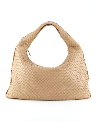 Intrecciato Woven Large Hobo Bag, Walnut