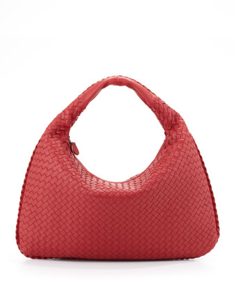 Intrecciato Large Hobo Bag, Red