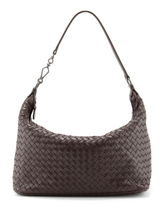 Woven Leather Medium Shoulder Bag, Dark Brown