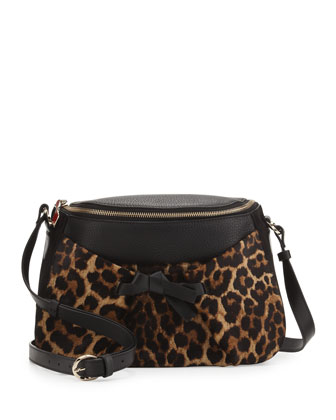 Salina Zip-Top Messenger Bag, Leopard