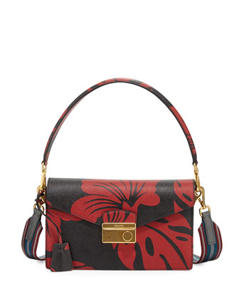 Hibiscus Saffiano Shoulder Bag, Red/Black