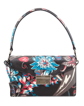 Saffiano Floral-Print Sound Shoulder Bag, Black Multi