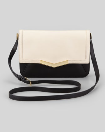 Affine Small Leather Shoulder Bag, Bone/Black