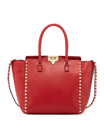 Rockstud Medium Shopper Tote, Red