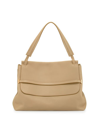 Grained Top-Handle Medium Hobo Bag, Eggshell