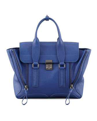 Pashli Zip Satchel Bag, Cobalt