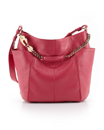 Anna Leather Tote Bag, Magenta