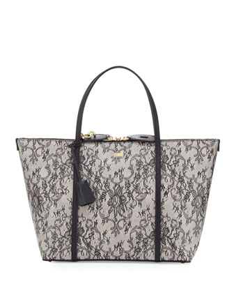 Escape Lace-Print Leather Shopper, Black Multi