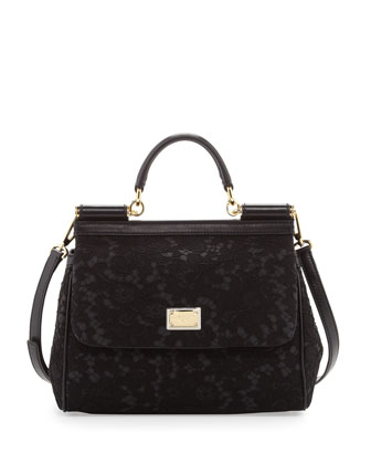 Miss Sicily Lace Satchel Bag, Black