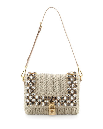 Dolce Crystal Raffia Shoulder Bag, Beige