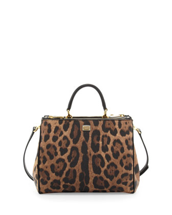 Sicily Mini Shopper Satchel Bag, Leopard
