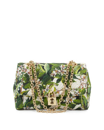 Dolce Small Flap Shoulder Bag, Green Multi
