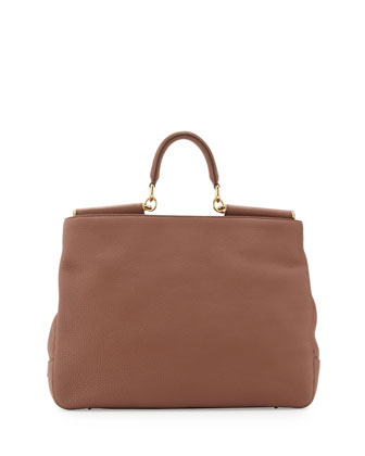Sicily Top-Handle Satchel Bag, Brown