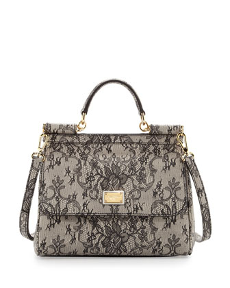 Miss Sicily Small Lace-Print Satchel Bag